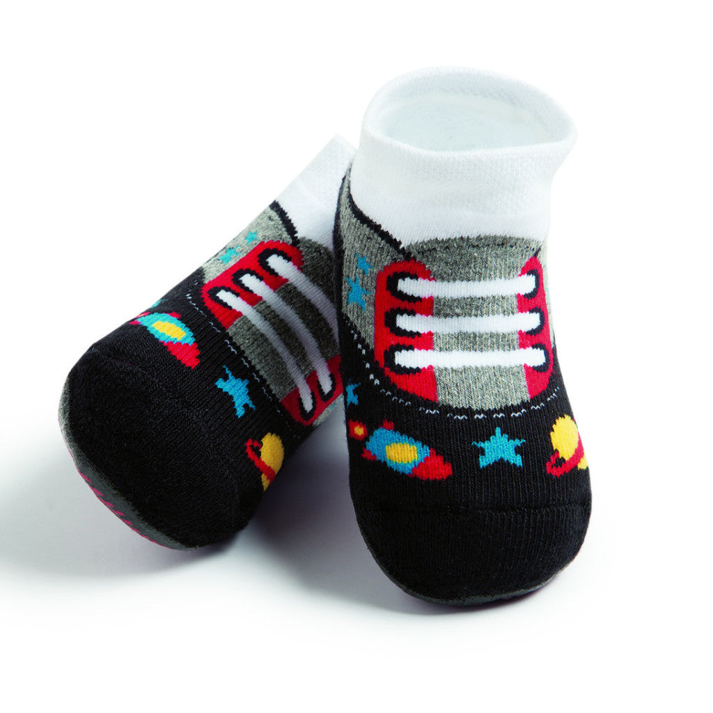 Basic toddler complete anti-slip socks, black, grey & red tennis design