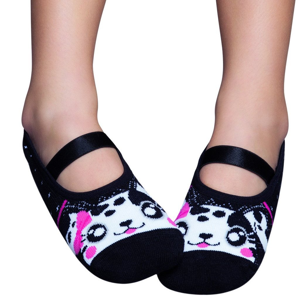 Basic kids ballerinas, black with cat design