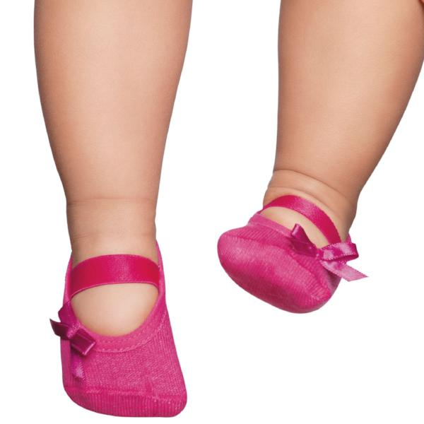Embellished baby ballerinas, Pink with bow