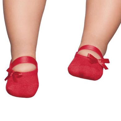 Embellished baby ballerinas, Red with bow
