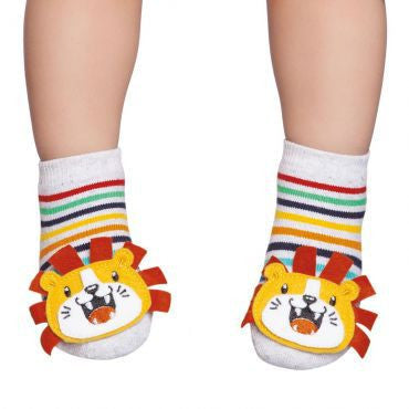 Embellished toddler socks, multicoloured lion design