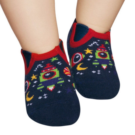 Basic toddler socks, navy & red space design