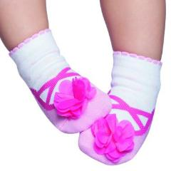 Embellished baby socks that look like shoes, pink ballerina