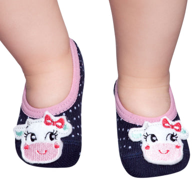 Embellished baby ballerinas, navy & little cow