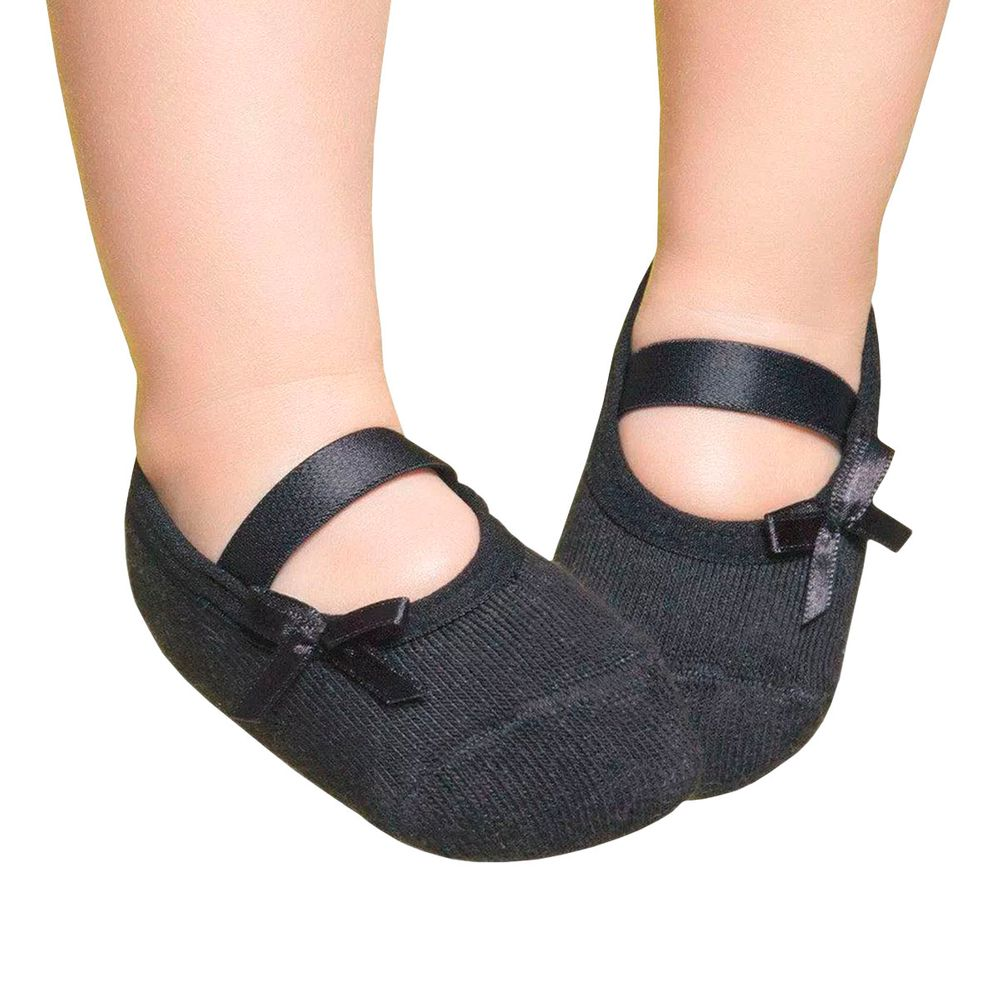 Embellished baby ballerinas, Black with bow