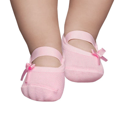 Embellished baby ballerinas, Pale pink with bow