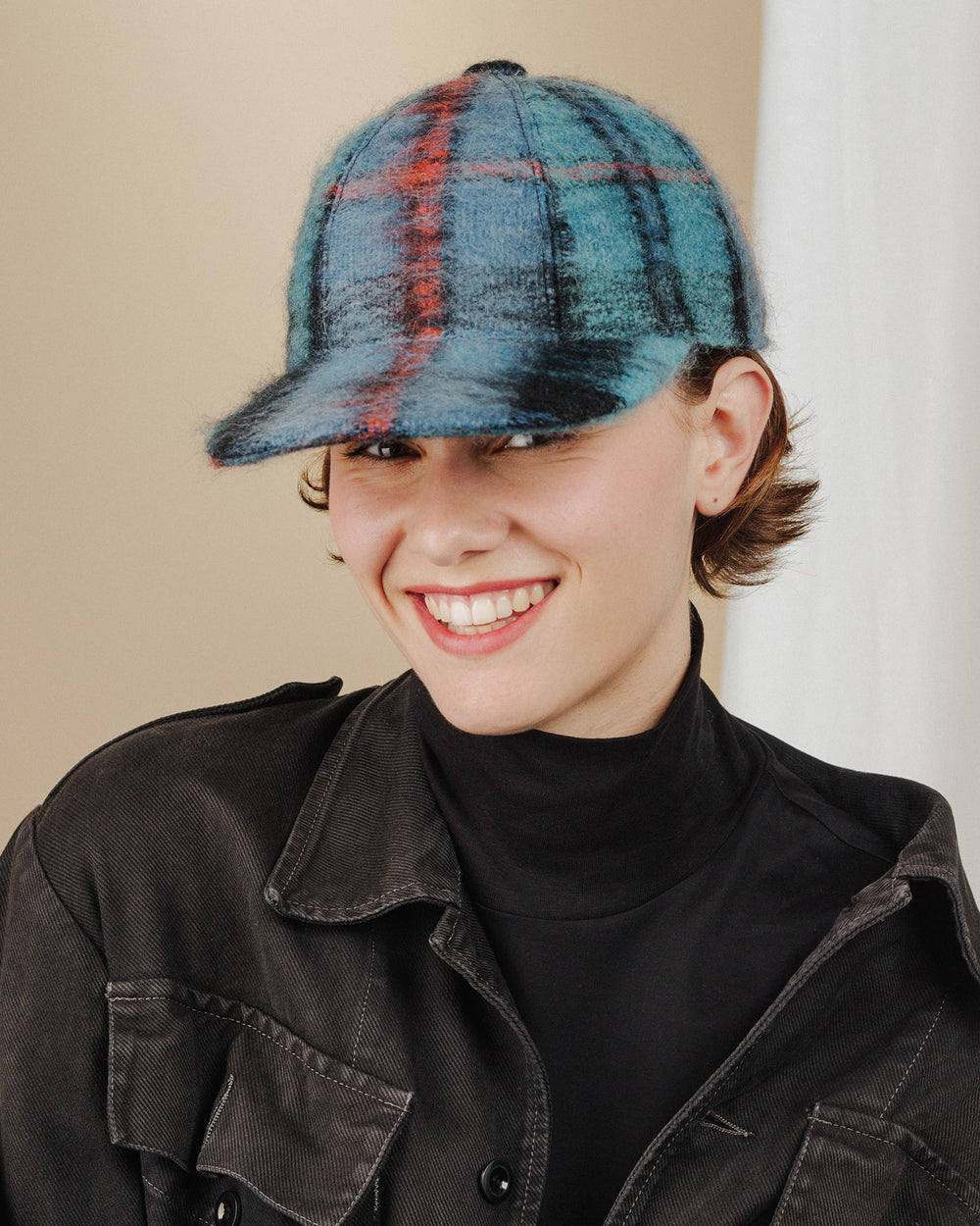women wear blue-tartan-mohair