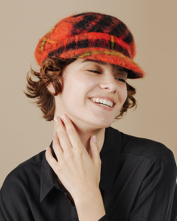 women wear orange-tartan-mohair