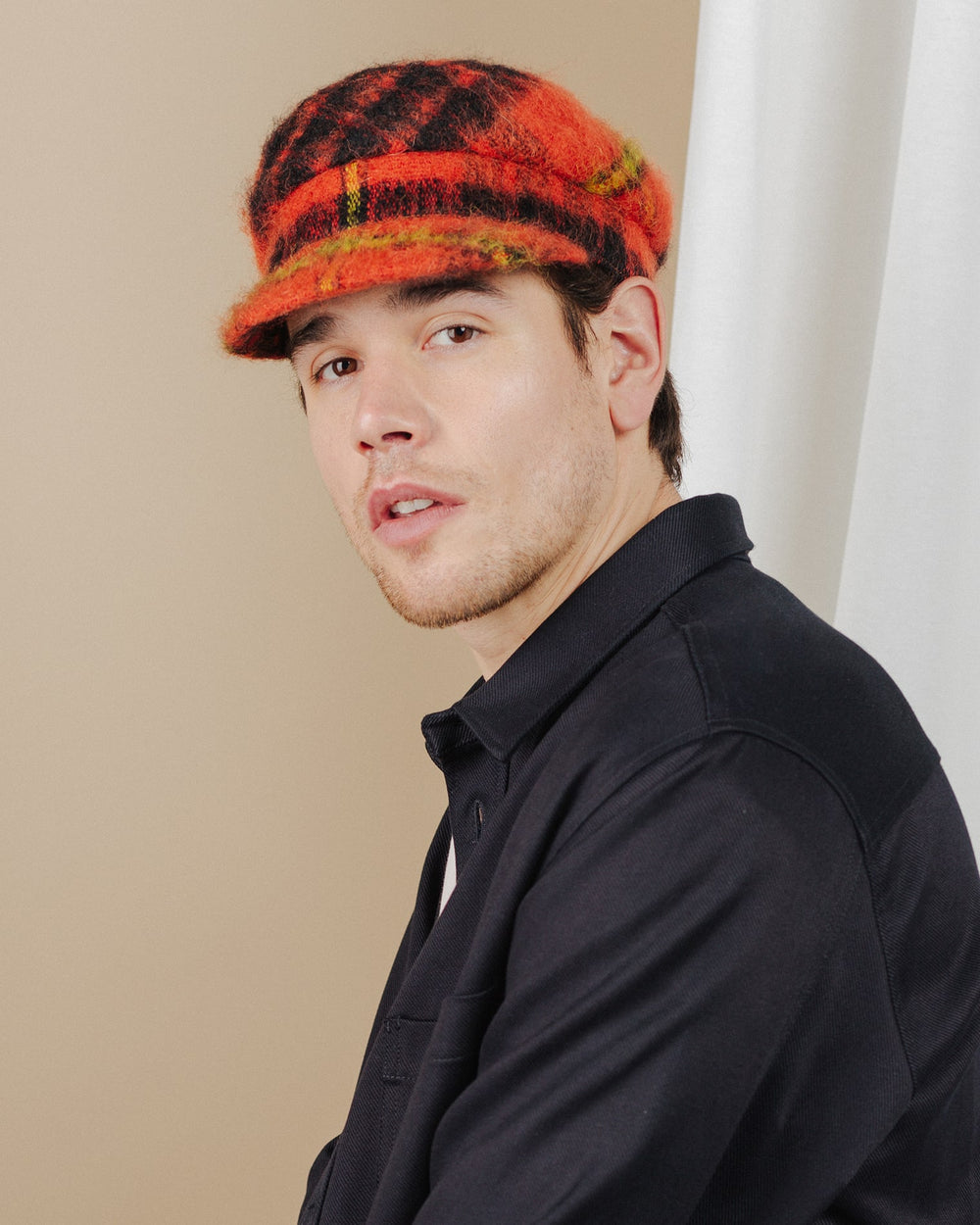 men wear orange-tartan-mohair