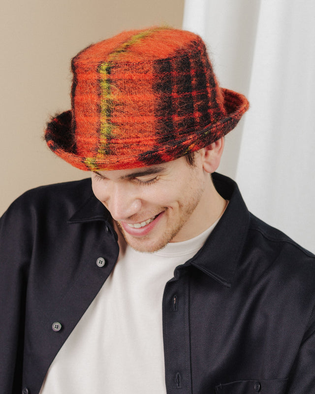 men wear orange-tartan