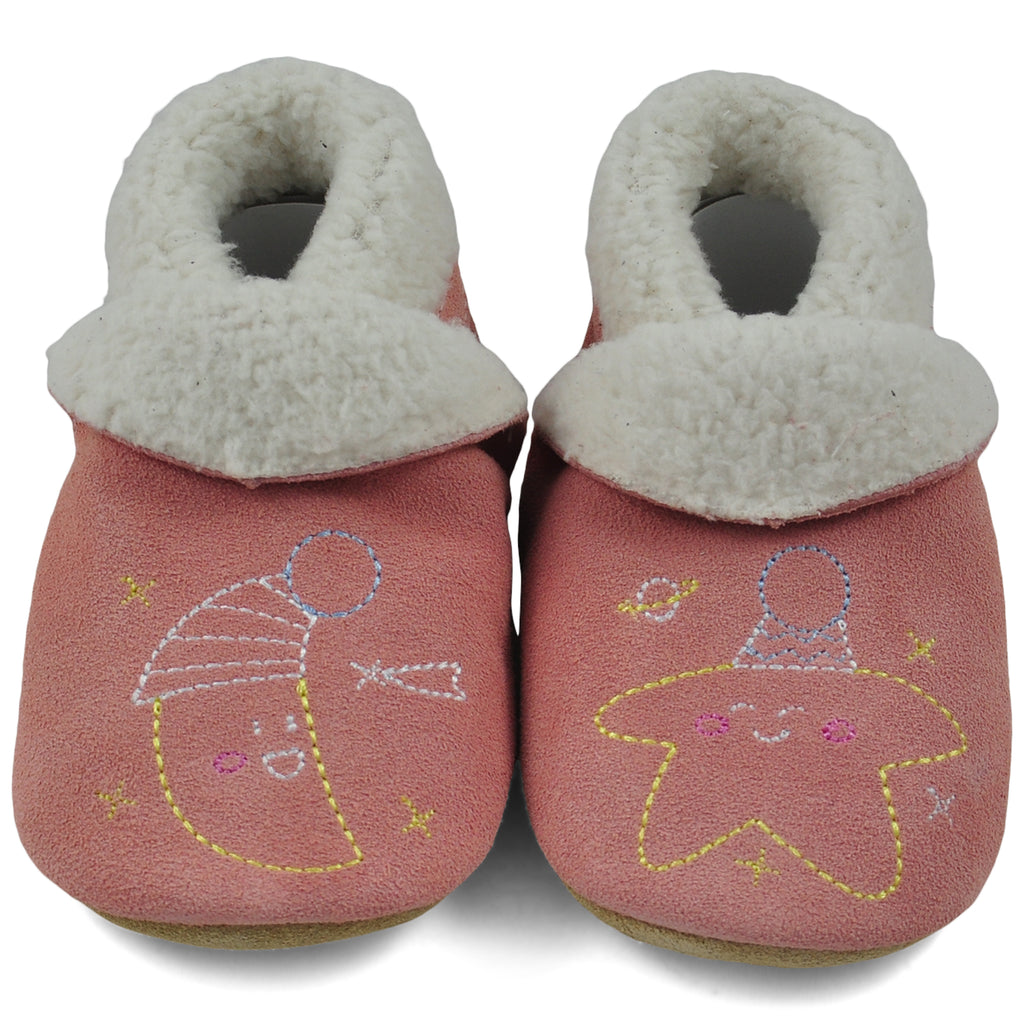 Baby Slippers - Pale Pink Moon and Stars