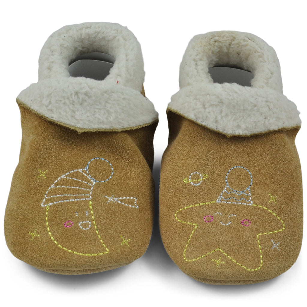 Baby Slippers - Beige with Moon and Stars