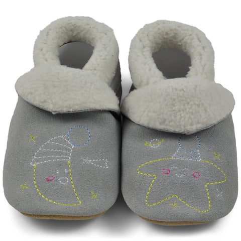 Baby Slippers - Grey Moon and Stars