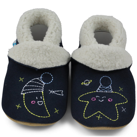 Baby Slippers - Navy Blue Moon and Stars