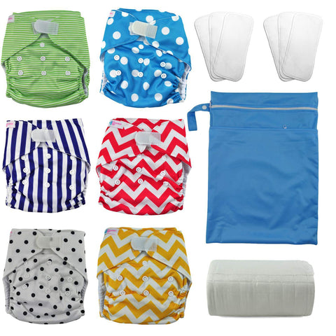 Velcro Closure Stripes and Polka Dots Reusable Nappy Kit