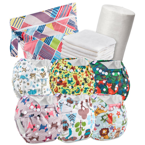 Patterned Reusable Nappy Kit