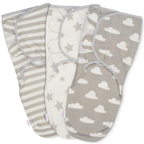 Baby Swaddle Wrap - Pack of 3 Swaddle Blankets Clouds and Stars