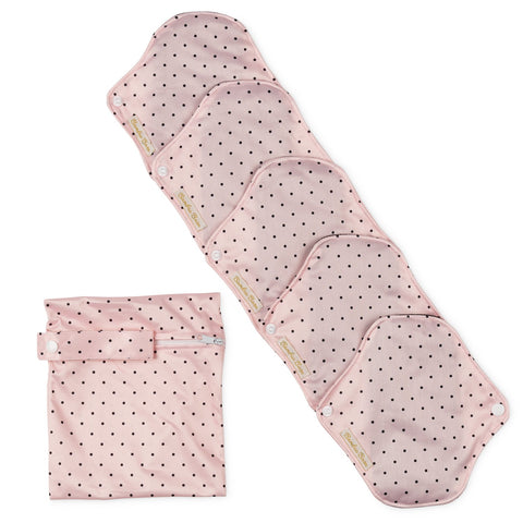 Reusable Bamboo Cloth Sanitary Pads with Absorbent Wings - Set of 5 with Bag