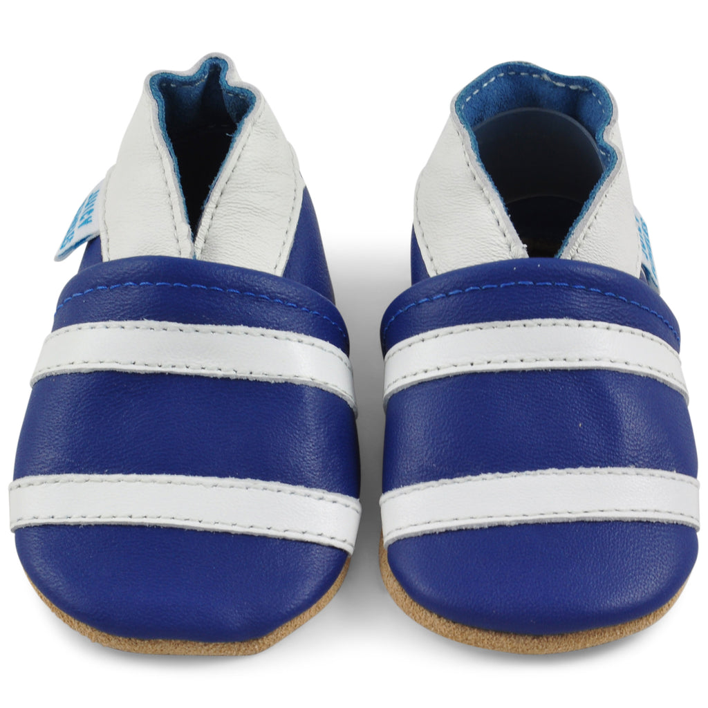 Soft Leather Baby Shoes Navy Blue with Whte Stripes
