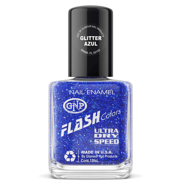 Esmalte FLASH Colors de GNP 15ML Glitter Azul en Beauty Supply