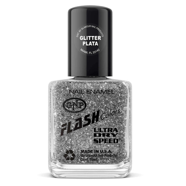 Esmalte FLASH Colors de GNP 15ML Glitter Plata en Beauty Supply