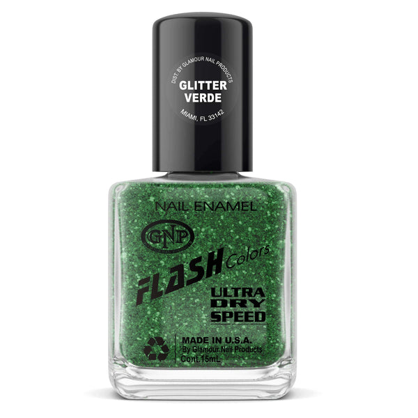 Esmalte FLASH Colors de GNP 15ML Glitter Verde en Beauty Supply
