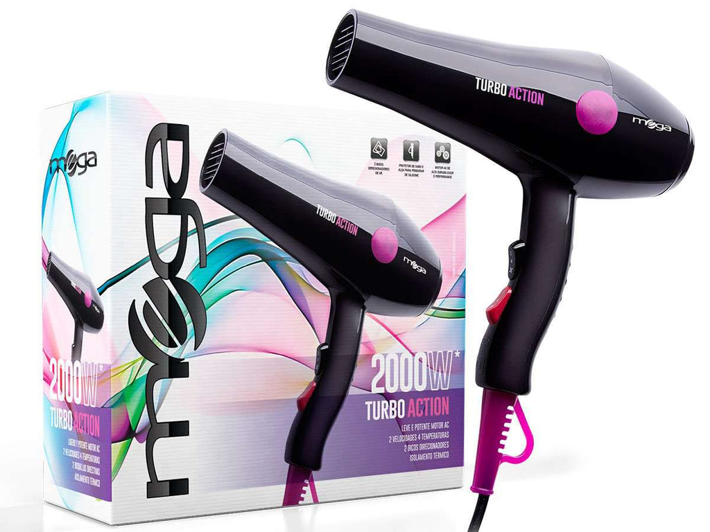 SECADOR DE PELO PROFESIONAL MEGA TURBO ACTION 2000W en Beauty Supply