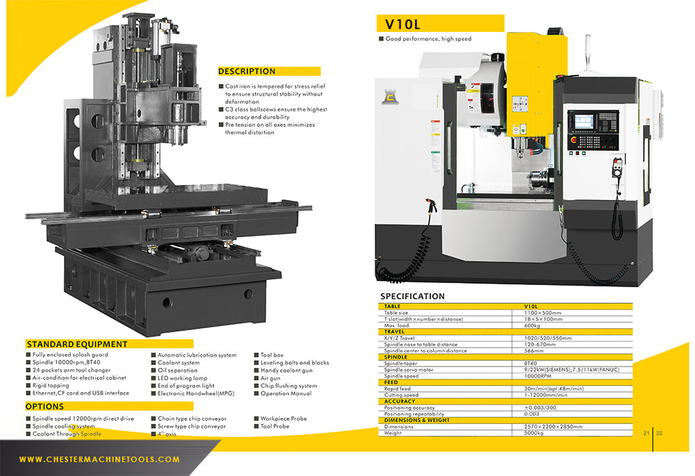 Chester's Range of Vertical CNC Machining Centres