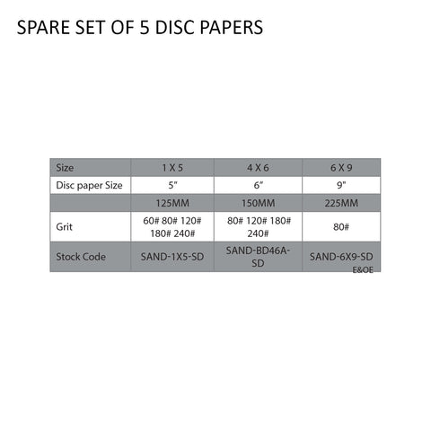 SPARE SET OF 5 DISC PAPERS 4 X 6 - Chester Machine Tools