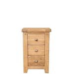Rustic Oak 3 Drawer Bedside Table