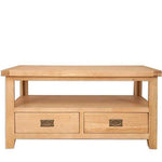 The Furniture House Coffee table Natural Oak Coffee Table with 2 Drawers