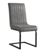 The Furniture House Dining Chair Pair of Grey Leather Dining Chairs