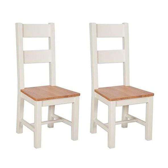 Pair of Ivory Charm Wooden Dining Chairs