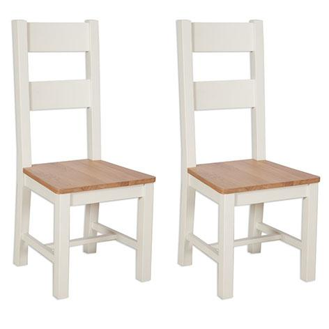 The Furniture House dining chair Pair of Ivory Charm Wooden Dining Chairs