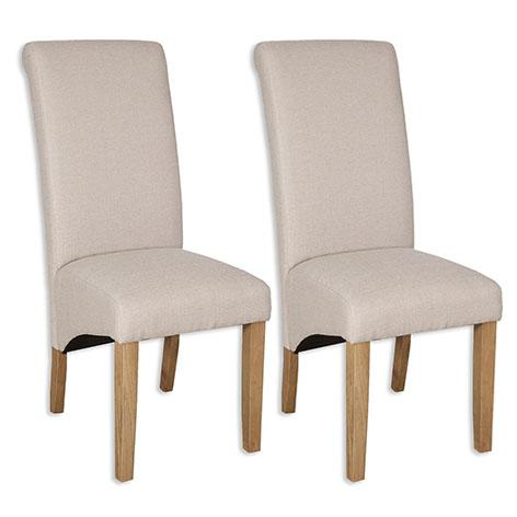 The Furniture House dining chair Pair of Natural Cream Fabric Chairs