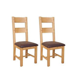 The Furniture House Dining Chair Pair of Natural Oak Dining Chairs