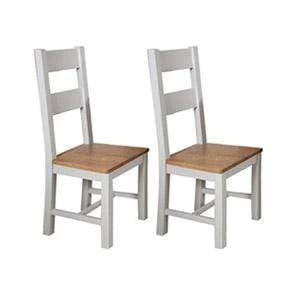 Pair of Rustic Grey Wooden Dining Chairs