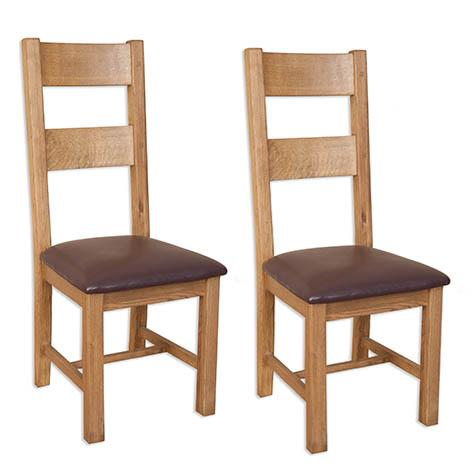 Pair of Rustic Oak Wooden Dining Chairs