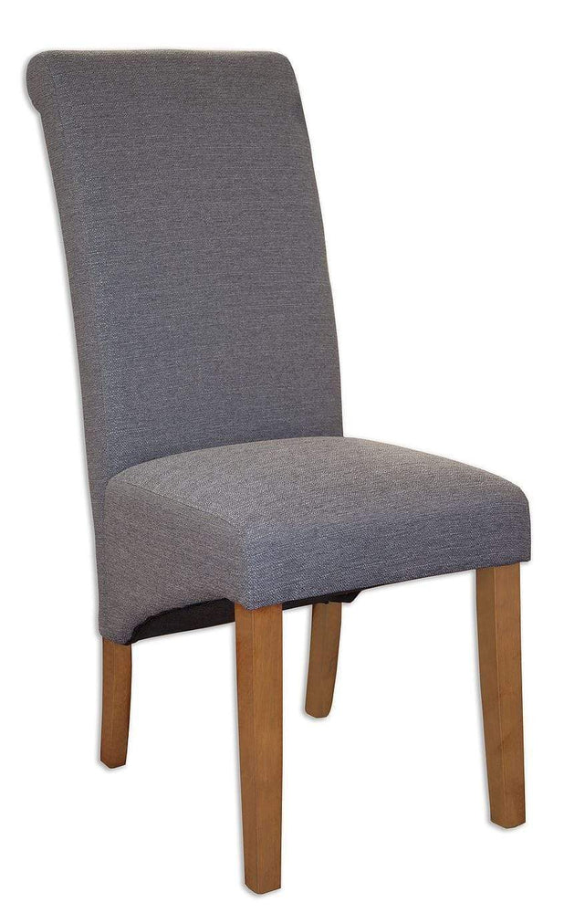 The Furniture House Dining Chair Pair of Slate Grey Fabric Chairs