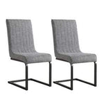 Pair of Grey Fabric Dining Chairs