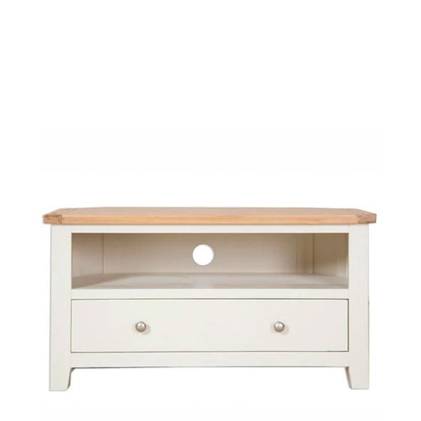The Furniture House Ivory Charm Corner Tv Unit with 1 Drawer Ivory Charm Corner Tv Unit