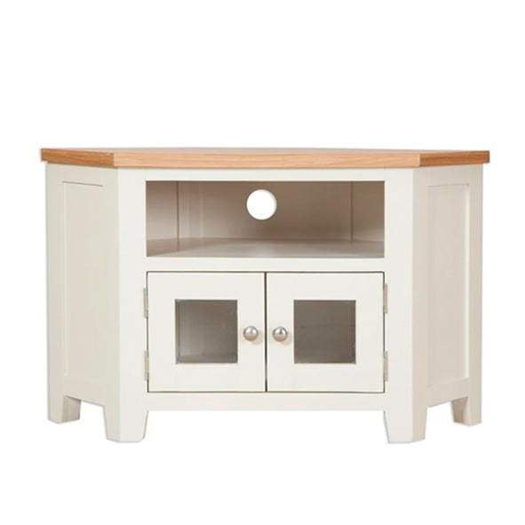 The Furniture House Ivory Charm Glazed Corner TV Unit Ivory Charm Glazed Corner TV Unit