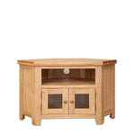 Natural Oak Glazed Corner TV Unit