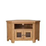 Rustic Oak Glazed Corner TV Unit
