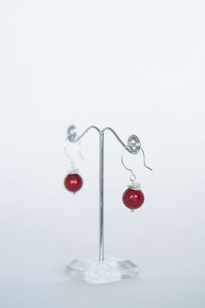 Irish handmade earrings in silver and red coral