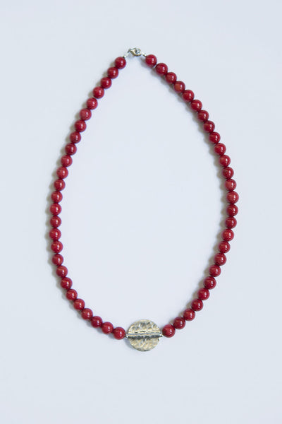 Irish handmade necklane with red coral beads and silver medallion