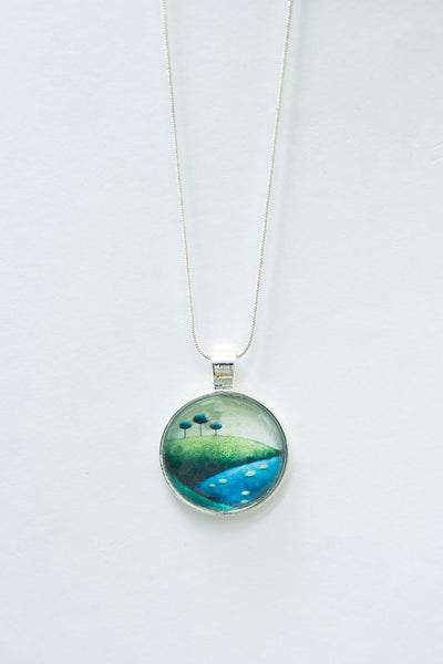 Handmade silver necklace with Irish landscape motif