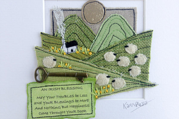 Karen Pleass Textile Art: Irish Landscape Textile Art with Irish Blessing Mount
