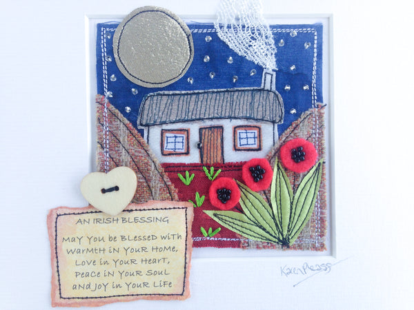 Karen Pleass Textile Art - Irish Cottage Textile Art with Irish Blessing Mount