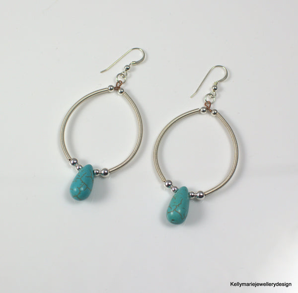 Kelly Marie Jewellery Design - Turquoise Handwrapped Hooped Earrings